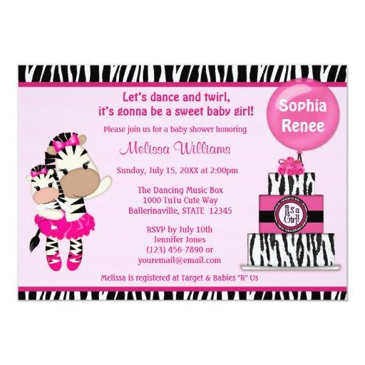 tutu cute baby shower invitation zebra girl mommy zazzle