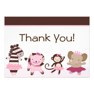 Tutu Cute Ballerina Animals Thank You Cards Custom Invitations