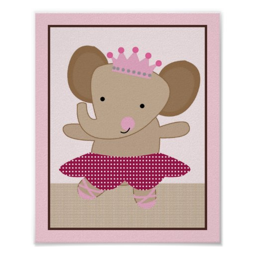 Tutu Cute Ballerina Elephant Art Poster
