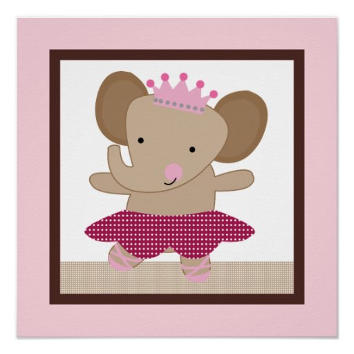 Tutu Cute/Ballerina Elephant Girl Poster Wall Art