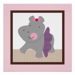 Tutu Cute/Ballerina Hippo Girl Poster Wall Art
