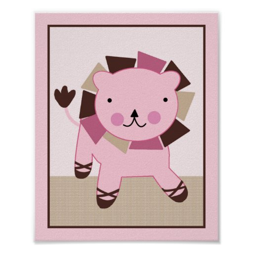 Tutu Cute Ballerina Lion Art Poster