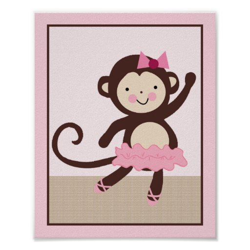Tutu Cute Ballerina Monkey Art Poster