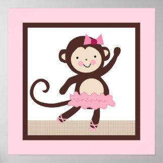 Tutu Cute Ballerina Monkey Girl Poster Wall Art