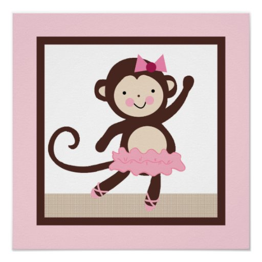 Tutu Cute/Ballerina Monkey Girl Poster Wall Art