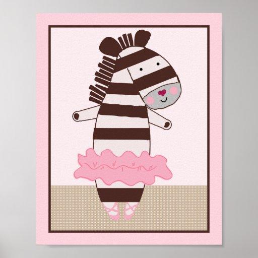 Tutu Cute Ballerina Zebra Art Poster