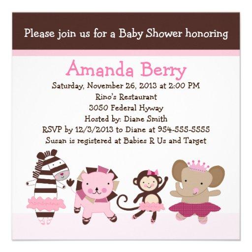 tutu cute ballet animals baby shower invitation square