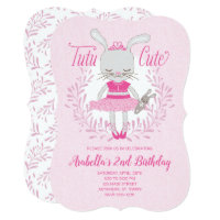 Tutu Cute Bunny Birthday Invitation