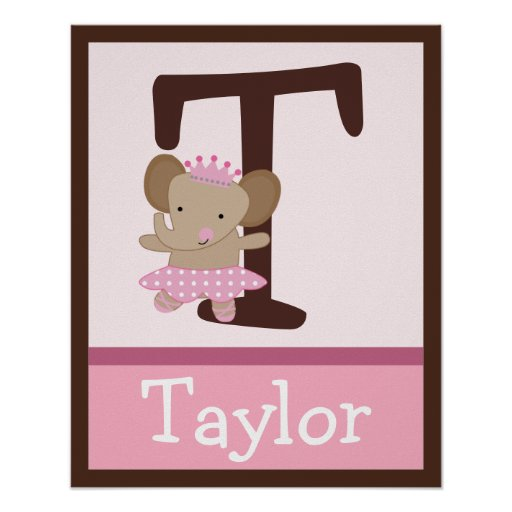 Tutu Cute Elephant Letter & Name Wall Art Poster