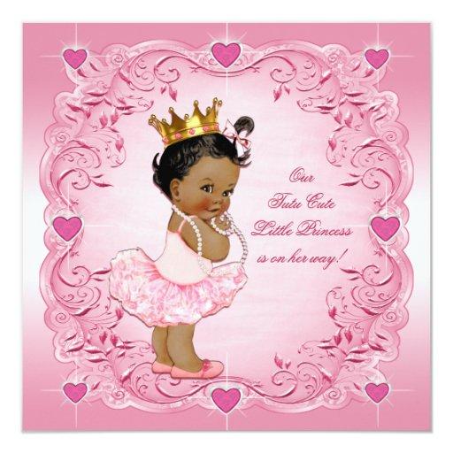 tutu cute ethnic princess love hearts baby shower invitation zazzle