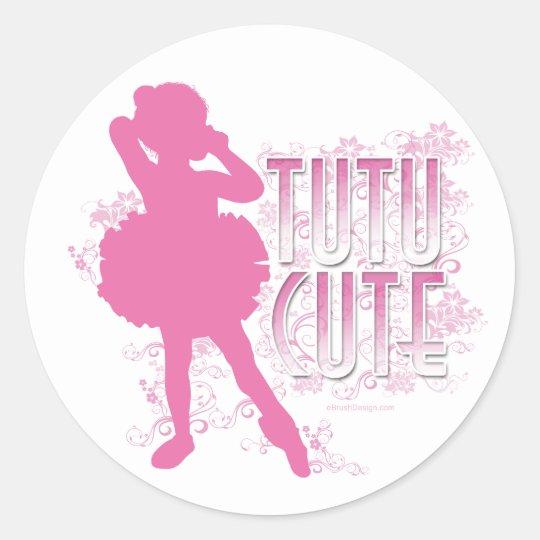 Tutu Cute (Pink) Classic Round Sticker