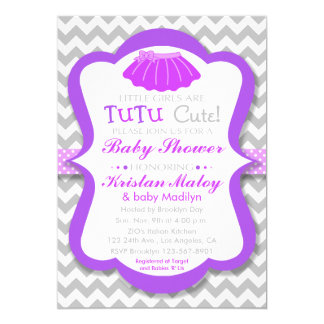 tutu cute purple baby shower invitation