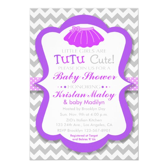Tutu Cute Purple Baby Shower Invitation Zazzle