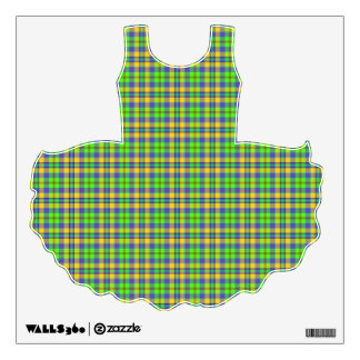 Tutu Decal - Apple greens and oranges plaid