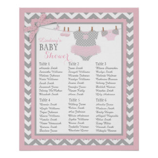Tutu Diaper Booties Baby Shower Seating Chart Poster