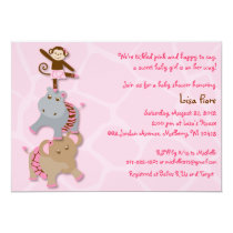 Tutu Jungle Animal Baby Shower Invitations
