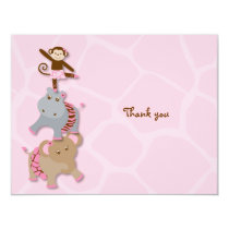 Tutu Jungle Animal Thank You Note Cards