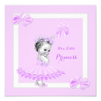 """Tutú lindo de la lila del chica de la princesa invitación 5.25"""" x 5.25"""""""
