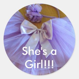 ¡tutú LINDO, ella es aGirl!!! Etiqueta Redonda