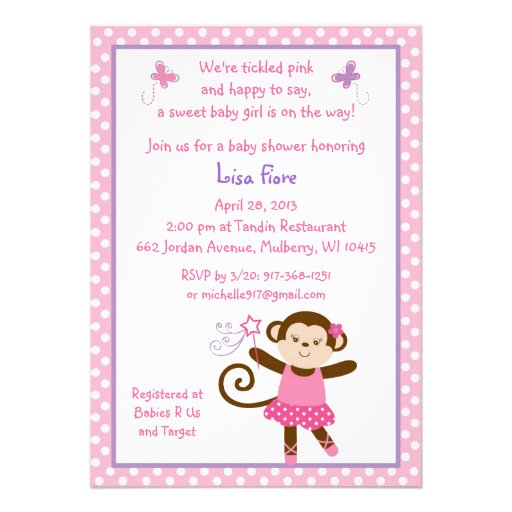 tutu monkey ballerina baby shower invitations 5 x 7 invitation ca