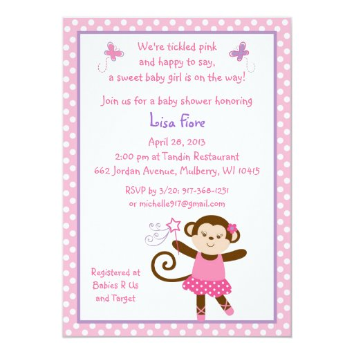 tutu monkey ballerina baby shower invitations zazzle