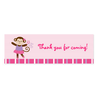 Tutu Monkey Ballerina Goodie Bag Tags Gift Tags Business Card