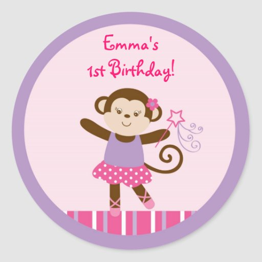 Tutu Monkey Ballerina Stickers Labels