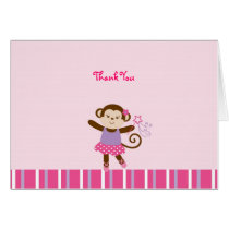 Tutu Monkey Ballerina Thank You Note Cards