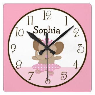 Tutú personalizado lindo/reloj de la bailarina del reloj cuadrado