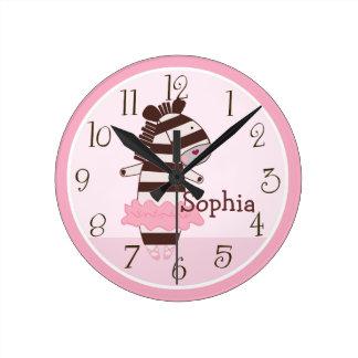 Tutú personalizado lindo/reloj de ZebraAnimals Reloj Redondo Mediano