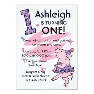 "Tutu Piggy 1st Birthday Custom Invitations 5"" X 7"" Invitation Card"