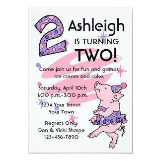 "Tutu Piggy 2nd Birthday Custom Invitations 5"" X 7"" Invitation Card"