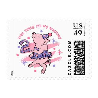 Tutu Piggy 2nd Birthday Postage