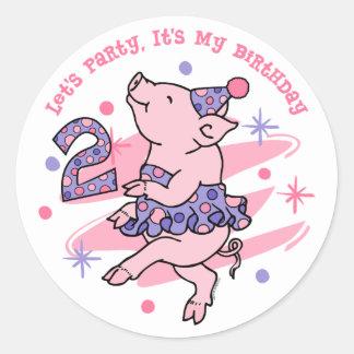 Tutu Piggy 2nd Birthday Stickers
