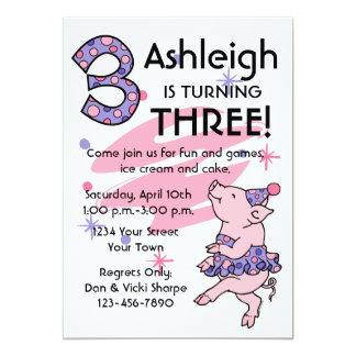 "Tutu Piggy 3rd Birthday Custom Invitations 5"" X 7"" Invitation Card"