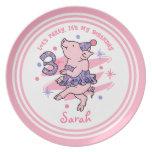 Tutu Piggy 3rd Birthday Melamine Plate