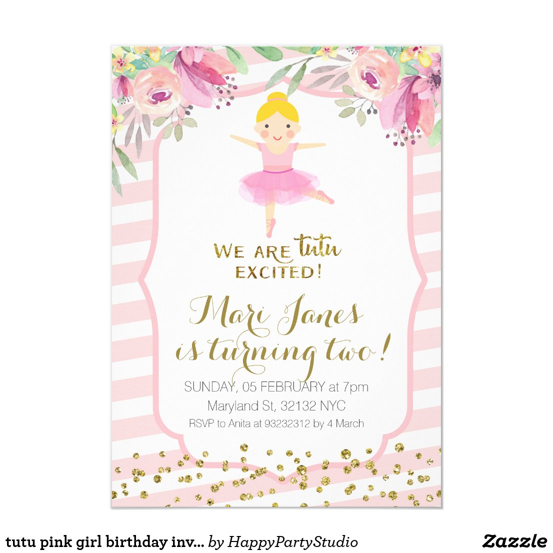 tutu pink girl birthday invitation
