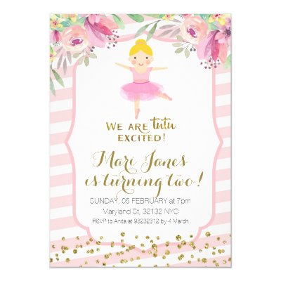 Ballet tutu excited baby girl shower invitation zazzle filmwisefo Image collections