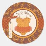 Tutu Polka Dot Jumper and Autumn Damask Print Classic Round Sticker