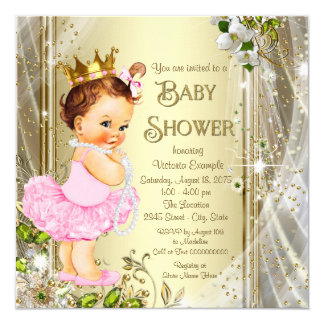 Tutu Princess Pink Gold Baby Shower 5.25x5.25 Square Paper Invitation Card