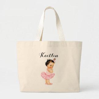 Tutú rosado trigueno de la bailarina del bebé del bolsa tela grande
