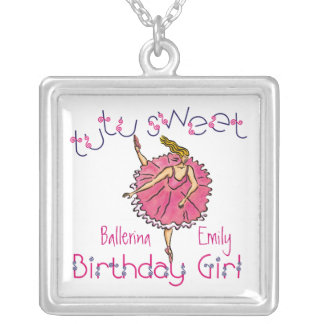 tutu sweet Birthday Girl Square Necklace