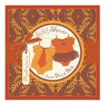 Tutu & Tie & Autumn Damask Vine Twins Baby Shower Card