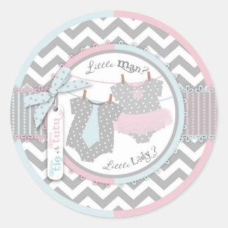 Tutu & Tie Chevron Print Gender Reveal Baby Shower Classic Round Sticker