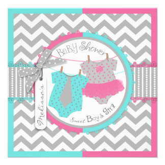 Tutu Tie Chevron Print Twin Baby Shower Announcement