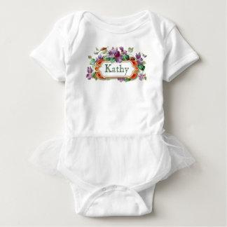 Tutú violeta del bebé de la tarjeta de visita del mameluco de bebé