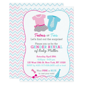 Tutus or Ties Gender Reveal Card