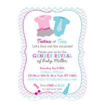 Tutus or Ties Gender Reveal Invitations Pink Blue