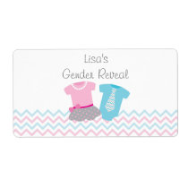 Tutus or Ties Gender Reveal Water Bottle Labels