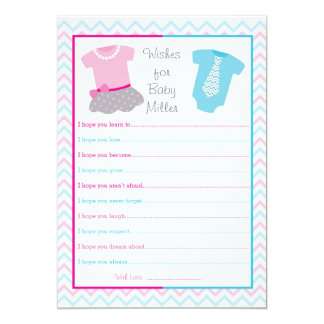 "Tutus or Ties Pink Blue Wishes for Baby Cards 5"" X 7"" Invitation Card"